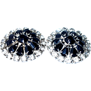 SALE Large Black Rhinestone Button Style Earrings on SALE