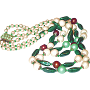 SALE Unusual Colored Three Strand Glass Necklace with Peridot Rhinestone Clasp