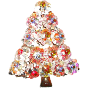 SALE Floret Glass Crystal Christmas Tree Pin