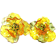 SALE Lucite Floral Earrings with Transparent Yellow and Green Petals and Peridot Rhinestone ..