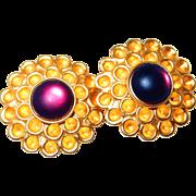 SALE Haute Couture Designer Honeycomb Amethyst Earrings