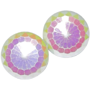 REDUCED Curved White Facet Glass Earrings with Soft Rainbow Colors