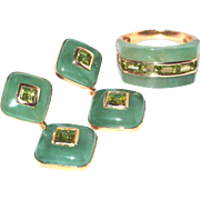 14k Gold Jade and Peridot Ring and Drop Post Earrings