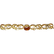 REDUCED Antique Brass Bar Pin Set with Paste Topaz and Glass Pearls