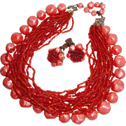 REDUCED Coral Multi-strand Glass Seed Beads and Marbled Plastic Necklace, Earring Set