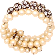 SALE Faux Pearl Memory Wire Wrap Bracelet with Prong Set Rhinestone Beads