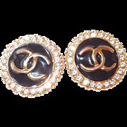 SALE Chanel Black Enamel and Rhinestone Earrings