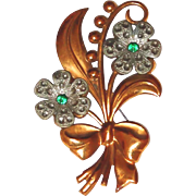 REDUCED Lily of the Valley Floral Brooch from the 1930s