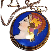 REDUCED Georgian Portrait Pendant: Hand Painted on Porcelain Blue Cameo with Gold Griffin