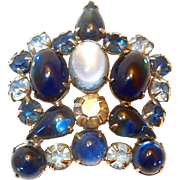 REDUCED Blue Weiss Cabochon Crown Brooch, Book Piece