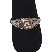 SALE Victorian Diamond 18k Gold Wedding Band with Hearts