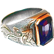 SALE Purple and Blue Synthetic Sapphire Gold and Sterling Men's Ring with Foo Dog Figures