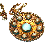 SALE Unusual Vintage Locket Look Pendant with Glass Pearls and Moonstone