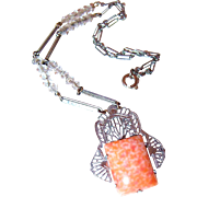 SALE Filigree and Peach Art Glass Pendant with Crystal Chain