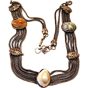 SALE Watch Chain Festoon Style Slide Necklace with Medieval Appearance