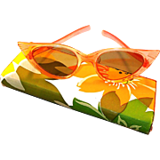 SOLD Cats Eye Sunglasses with 1960s Flower Power Case