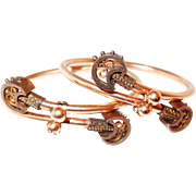 SALE Gold Victorian Crossover Bracelet Set in Etruscan Style