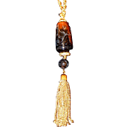 SALE Trifari Asian Pendant with Tassel