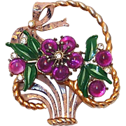 REDUCED Huge Enamel Flower Basket Brooch with Purple Cabochon