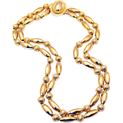 REDUCED Chain Strung, Two Strand Gold Electroplate Beaded Necklace