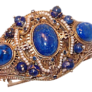SALE Rare Austro-Hungarian Silver Renaissance Bracelet with Lapis and Pearls