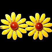 SALE Yellow Enamel Black-Eyed-Susan Flower Earrings