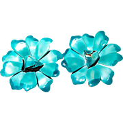 SALE Enamel Teal and Turquoise Flower Earrings from the 1960s