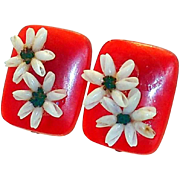 REDUCED Early Red Plastic and Sea Shell Earrings