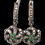 Emerald, Ruby, Sapphire Dangle Post Earrings