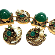 REDUCED Haute Couture Green Glass Cabochon Bracelet and Earring Set