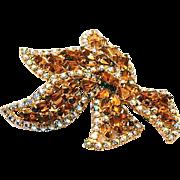 REDUCED Large Dimensional Topaz Rhinestone Brooch