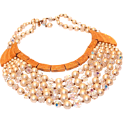 REDUCED Schiaparelli 5 Strand Pearl and Crystal Necklace