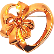 REDUCED Avon Heart Pin with Bow and Rhinestone Center