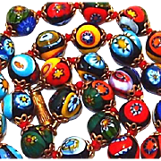 SALE Brightly Colored Millifori Italian Beaded Necklace
