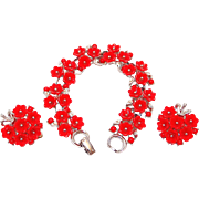 REDUCED Lisner Set: Red Thermoset Plastic Flower Bracelet and Earrings