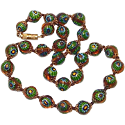 SALE Incredible Rosetta Sliced Millefiori Glass Bead Necklace of Green and Yellow Floating in