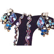 SALE Florenza Dusty Blue and Plum Rainbow Earrings with Faux Pearl Dangles, Plus Bonus Prom Ne