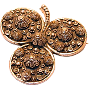 REDUCED Large Etrusceana Three Leaf Clover Large Brooch