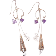 REDUCED Sterling Southwestern Rock Crystal and Amethyst Drop Hook Earrings