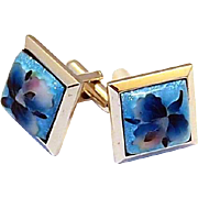REDUCED Vintage Glass Ota Cufflinks with Orchid