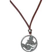 SALE Pewter Whale or Dolpin Pendant on Leather Necklace
