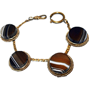 SALE 1890s Banded Agate Button Style Watch Chain Bracelet