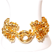SALE Quality Three Strand Gold-tone Chain Link Toggle Bracelet