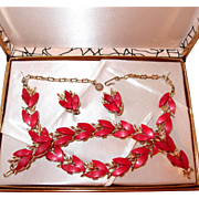 SALE Early Plastic Red Thermoset Complete Set in Original Box Includes Necklace, Bracelet, ...