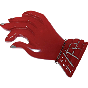 REDUCED Translucent Cherry Red Carved Bakelite Figural Hand Brooch