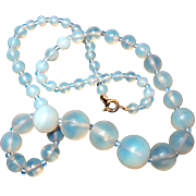 SALE Antique Blue Opal/Opalescent Glass Bead Necklace
