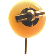 SALE Edwardian 10kt Gold Agate Stick Pin