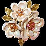 SALE Coro Dogwood Bloom Brooch Aurora Borealis Petals with Rhinestone Center Clusters
