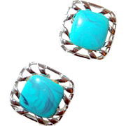 SALE Coro Turquoise Marble Thermoset Plastic Earrings