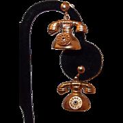 SALE Telephone Charm Gold Filled Earrings